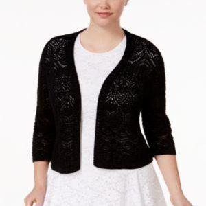 Jm Collection Plus Size Crochet Shrug